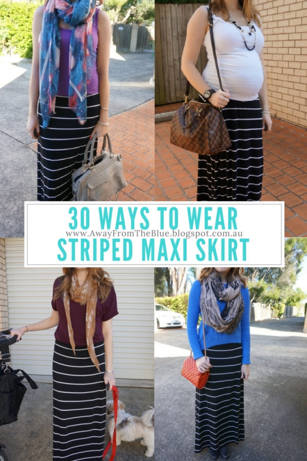 Away From Blue: #30Wears: Striped Maxi Skirt Black and White Jersey