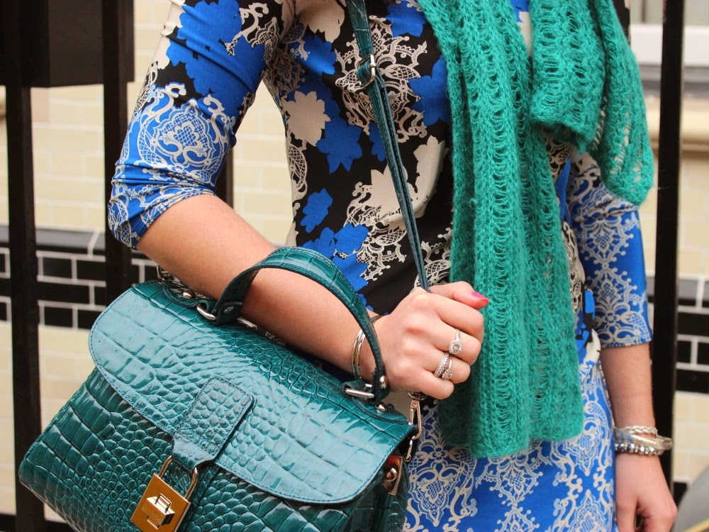 Turquoise blue patent leather croc effect handbag
