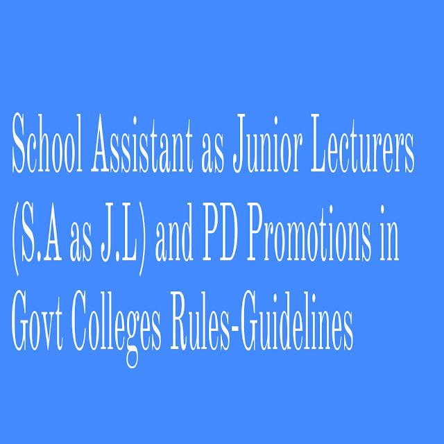 School Assistant as Junior Lecturers (S.A as J.L)