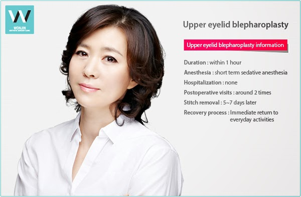 for wrinkle free eyes, upper blepharoplasty at wonjin plastic surgery in korea