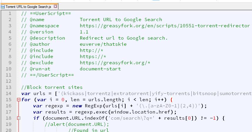 Handycache Resources: [Greasemonkey] Redirect Torrent URL to Google