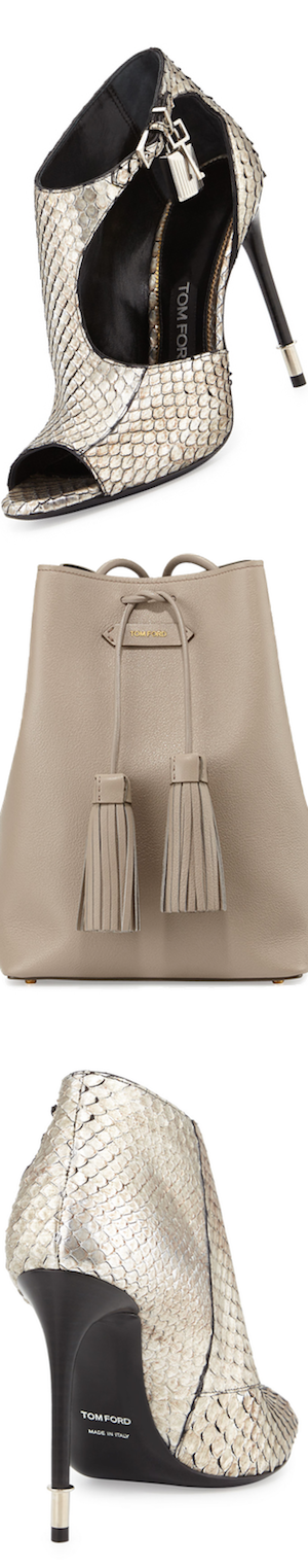 TOM FORD Leather Double-Tassel Medium Bucket Bag, Taupe