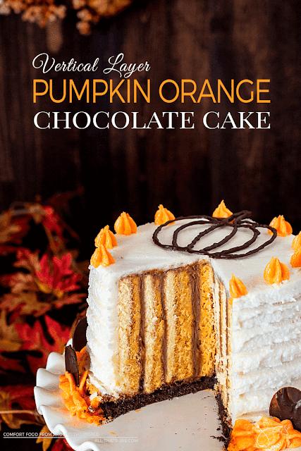 Vertical Layer Pumpkin Orange Chocolate Cake