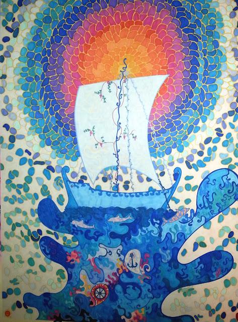 caroline vyzas, dessin au feutre tria sur papier, 1997