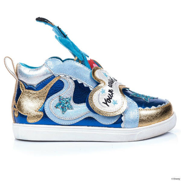 side of kids metallic blue trainer with gold genie lamp and glitter star