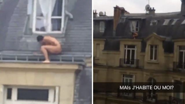 Naked man caught on camera hiding outside on the roof
