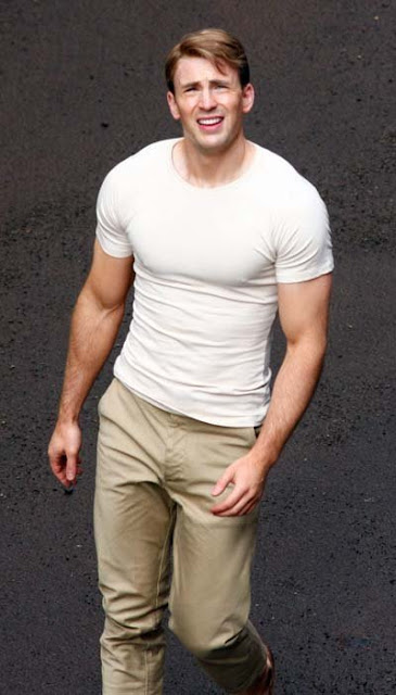 Chris Evans in White T-Shirt
