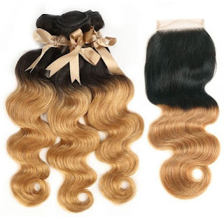 REMY HAIR丨3 BUNDLES BODY WAVE WITH 4X4 LACE CLOSURE丨OMBRE COLOR