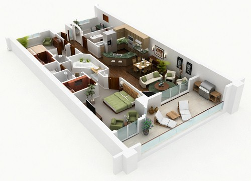 3D Floor Plan Rendering Of Architecture 4