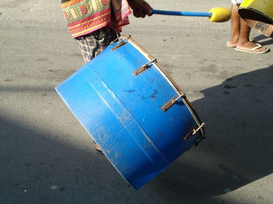 Blue drum at the La Loma Lechon Festival
