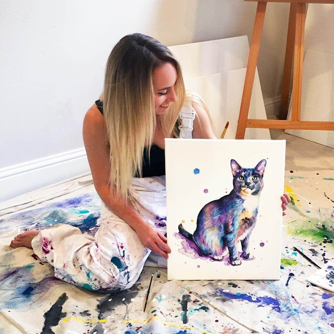 12-Cat-Lindsay-Michelle-Colorful-Domestic-and-Wild-Animal-Paintings