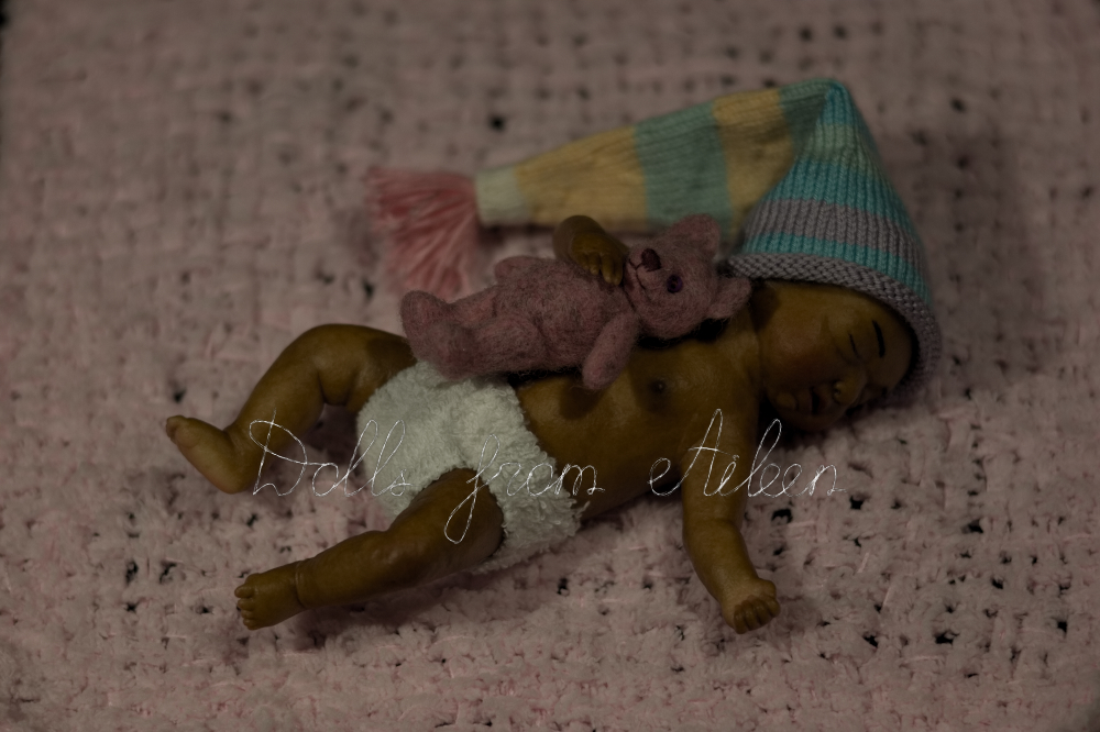 ooak mini baby girl doll sleeping on blanket