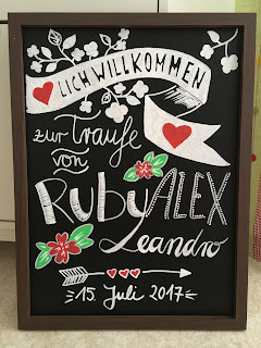Handgelettertes Tafelbild zur Hochzeit/Traufe - with love!