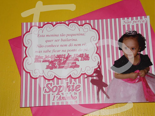 Convite Padrão 10X15 cm - Tema Bailarina