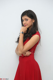 Mounika Telugu Actress in Red Sleeveless Dress Black Boots Spicy Pics 030.JPG