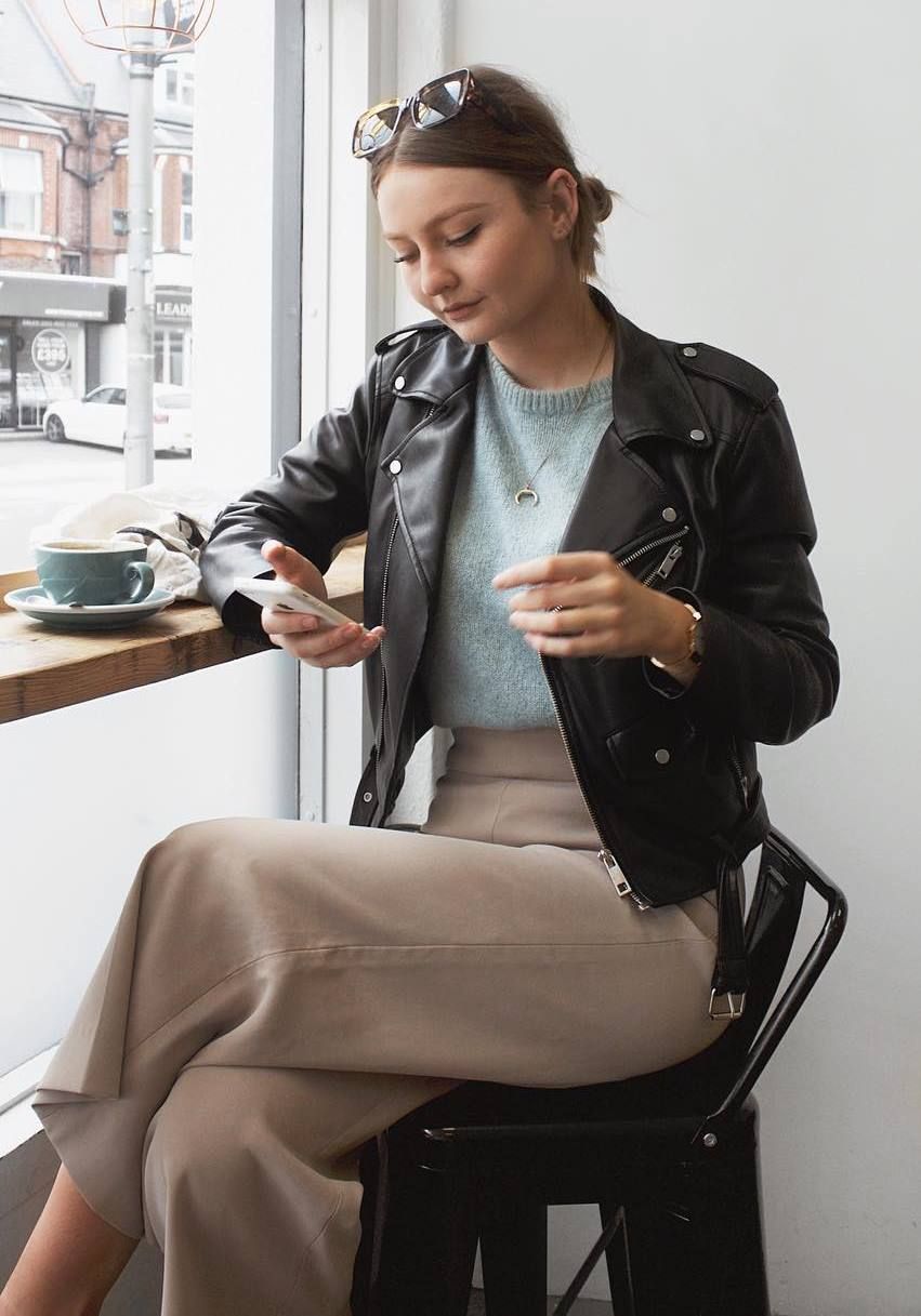 how to style a biker jacket : blush pants and knit sweater