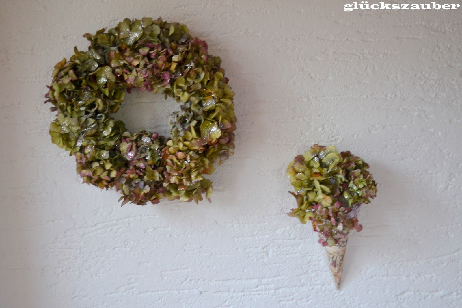 gl ckszauber winterliche dekoration mit hortensien. Black Bedroom Furniture Sets. Home Design Ideas