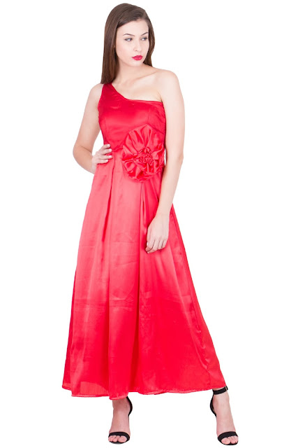 Satin Dreams Red Maxi Flowerdesign single neckline by Ashima S Couture