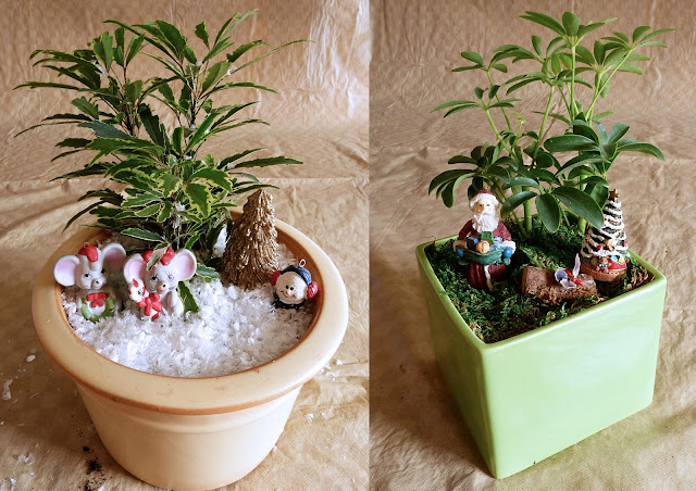 A snow themed garden with mice, and a mossy garden with Santa Claus