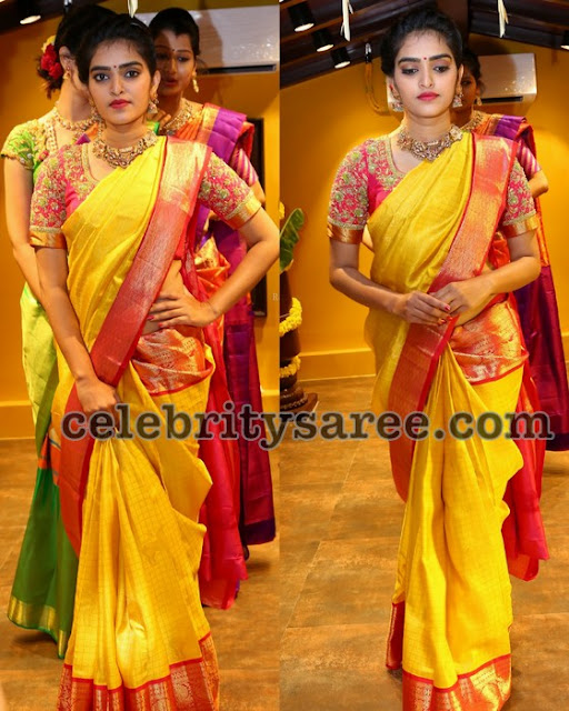 Hena Bright Yellow Pink Saree