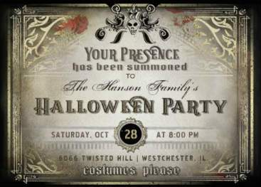 Golden Skull Halloween Party Invite