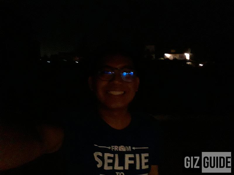 Selfie in very low lighting condition