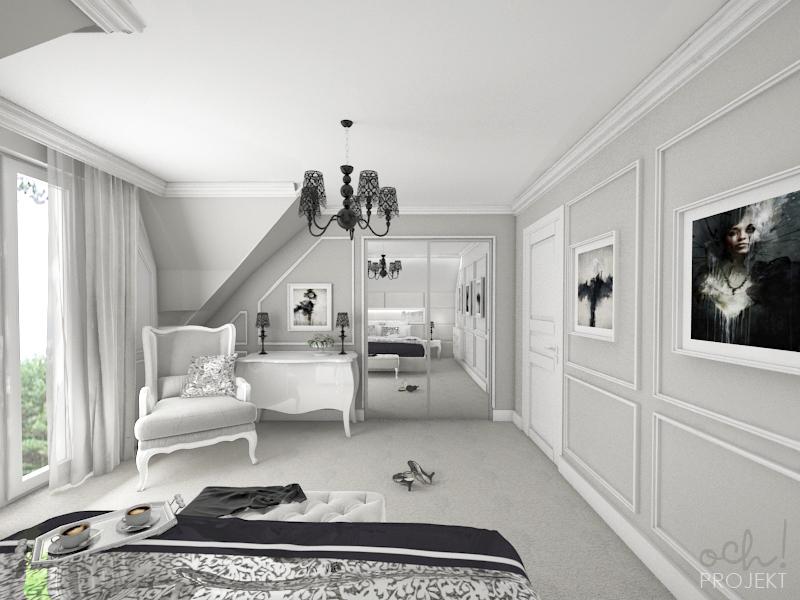 Ochprojekt Sypialnia W Stylu Glamour Shabby Chic Na Poddaszu