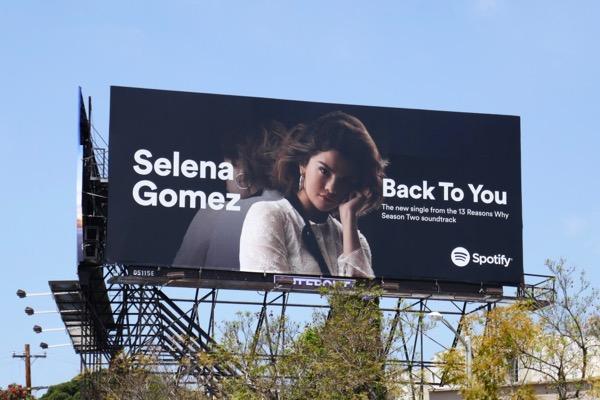 Selena Gomez Back to you Spotify billboard