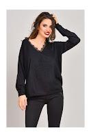 Pulover Havana negru din tricot cu dantela