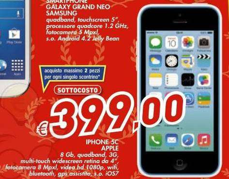 sottocosto iphone 5c 8gb prezzo scontato da auchan a 399 euro sottocosto offerte volantini e. Black Bedroom Furniture Sets. Home Design Ideas