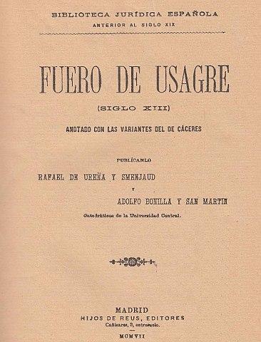 Fuero de Usagre (1242-1275) otorgado el maestre D. Pelay Correa de la Orden de Santiago