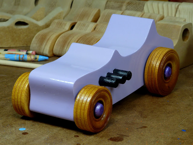 Wooden Toy Car - Hot Rod Freaky Ford - T Bucket - MDF - Lavender - Amber Shellac - Metallic Purple 06