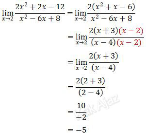 Penyelesaian limit fungsi aljabar dengan cara pemfaktoran