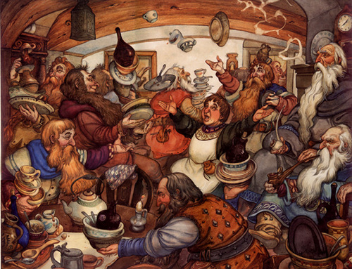 03-Unexpected Party-Artist-David-Twenzel-Watercolour-The-Hobbit-Frodo-Baggins-Gandalf