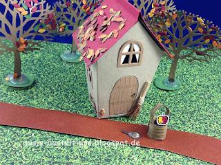 Stampin' Up! Mini Märchenland mit Hauschen von Schneewittchen und den sieben zwergen spieglein an der wand