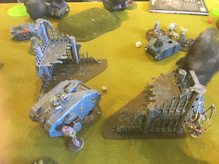 40k SW vs GSC Late game objective grab from Landraider