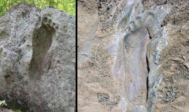 Venäjältä löydetty jalanjälki (vasen kuva) ja Bangaloressa (oikea kuva)