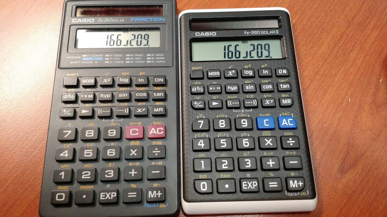Eddies math and calculator blog review casio fx 260 solar ii fx fx 260 solar original on the left fx 260 solar ii on the right named fx 82 solar ii internationally ccuart Choice Image