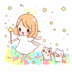 Angels and hamster sticker