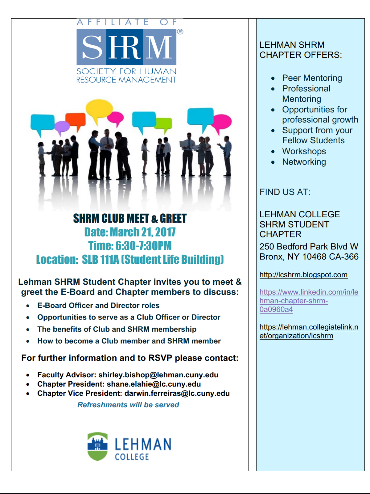 Lehman Chapter Shrm Lehman Shrm Student Chapter Invites You To