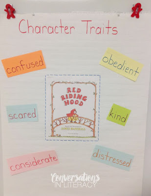 character traits anchor chart for folktale Red Riding Hood