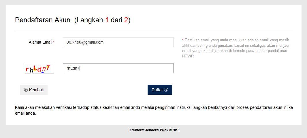 ereg pajak online langkah 1 dan 2