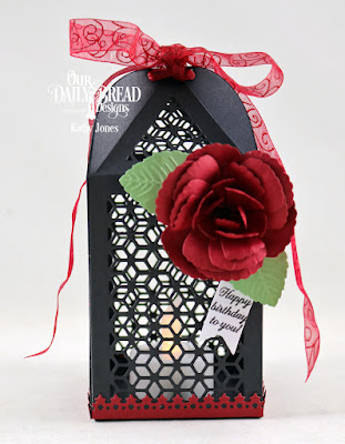 Our Daily Bread Design Stamp Set: Lovely Flower, Custom Dies: Luminous Lantern, Roses, Rose Leaves, Lavish Layers, Pennant Flags