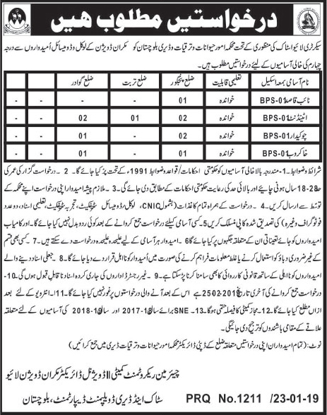 Jobs Vacancies In Livestock And Dairy Development Department Makran Division 24 January 2019
