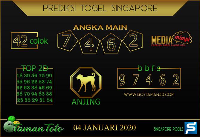 Prediksi Togel SINGAPORE TAMAN TOTO 04 JANUARI 2020