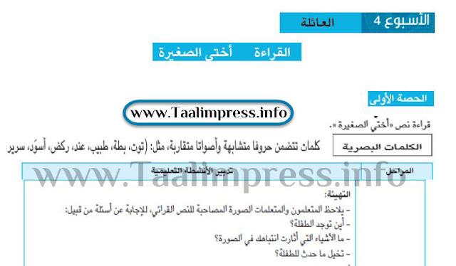 جذاذات الأسبوع 4 من الوحدة 1 للغة العربية مرجع مرشدي في اللغة العربية للمستوى الثاني
