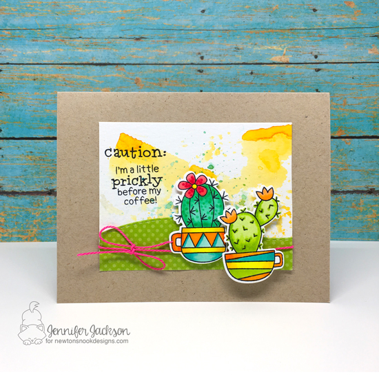 Summer Coffee Lovers Blog Hop | Coffee & Cactus Card by Jennifer Jackson | Cuppa Cactus Stamp set by Newton's Nook Designs #newtonsnook #handmade