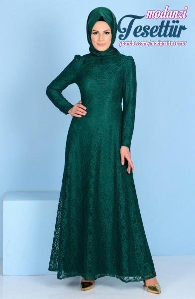 38554c0f45c7a Sefamerve Tesettür Elbise 2017 - Dantel Kaplamalı Elbise 3117A-02 Zümrüt  Yeşil