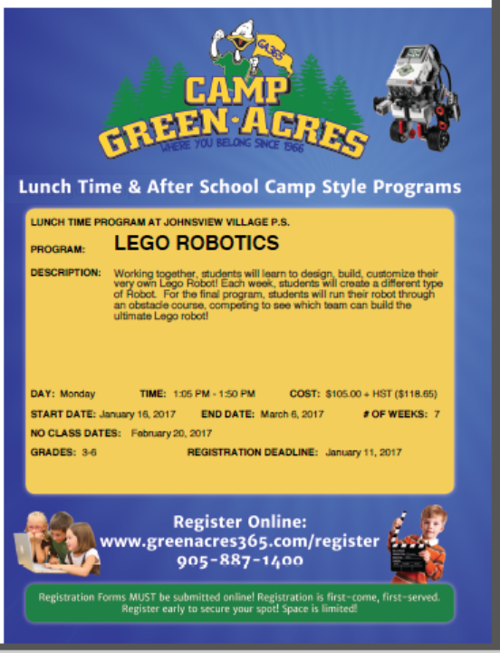 The Johnsview Village Blog Lego Robotics Paid Lunch Program For The
