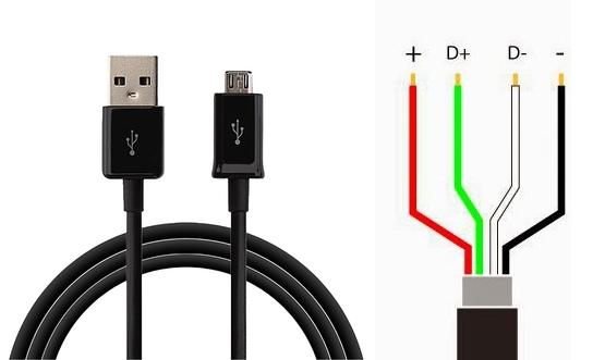 Micro USB Data cable Pin internal connections Diagram ~ OCTADROID